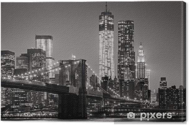 Cuadro en Lienzo Nueva York por la noche. Puente de Brooklyn, Bajo Manhattan - un Negro -
