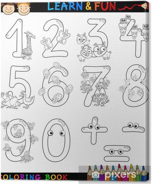 Cuadro En Lienzo Números Con Animales De Dibujos Animados Para Colorear