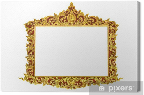 Cuadro en Lienzo old antique gold frame Stucco walls greek culture roman vintage style pattern line design for border isolated on white background - Abstractos