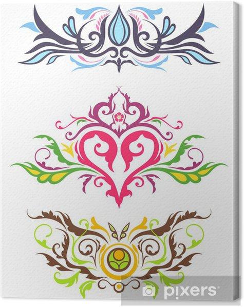 Cuadro en Lienzo Ornamentos decorativos florales - Señales y símbolos
