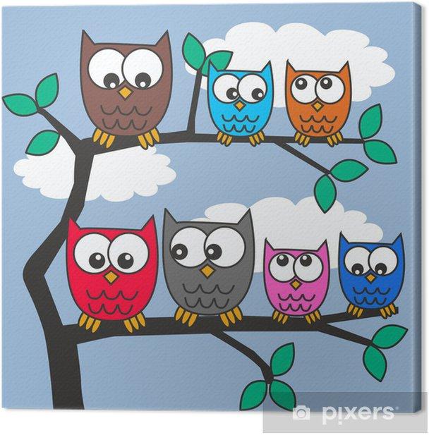 Cuadro en Lienzo Owls - Estaciones