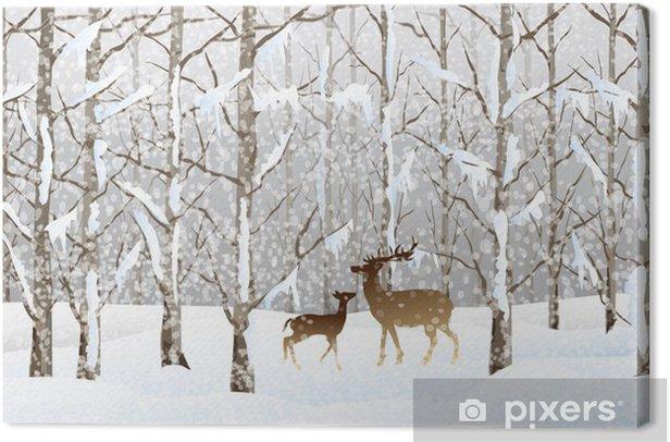 Cuadro en Lienzo Paisaje de invierno (Bosque)-vector - Bosqes