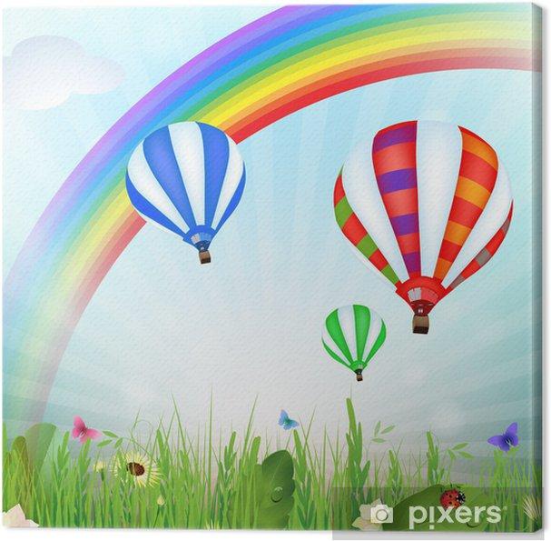 Cuadro en Lienzo Paisaje de primavera con globos de aire caliente y el arco iris - Arcos iris