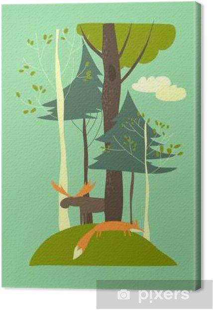 Cuadro en Lienzo Paisaje de verano con los árboles, el zorro y el alce - Plantas y flores