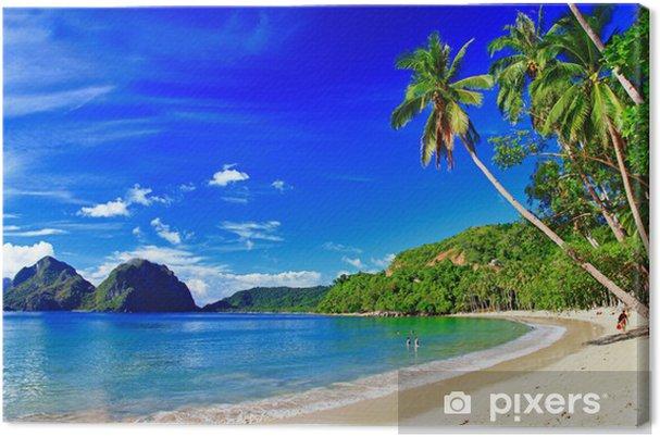 Cuadro en Lienzo Paisaje panorámico playa hermosa - El-Nido, Palawan - Temas