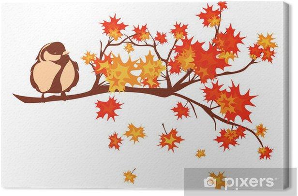 Cuadro en Lienzo Pájaro entre las hojas de otoño de la temporada - Estaciones
