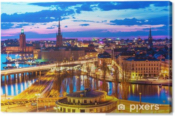 Cuadro en Lienzo Panorama de la noche de Estocolmo, Suecia - Europa