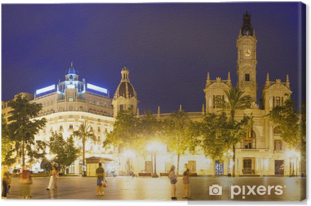 Cuadro en Lienzo Panoramic view of city hall at Placa del Ayuntamiento. Valencia - Urbano