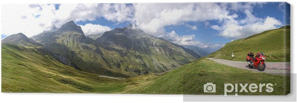 Cuadro en Lienzo Panoramique Ballade de una motocicleta en montagne du col Glandon - Vacaciones