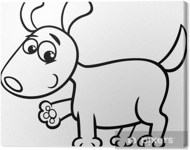 Cuadro en Lienzo Para colorear de dibujos animados cachorro de perro ...