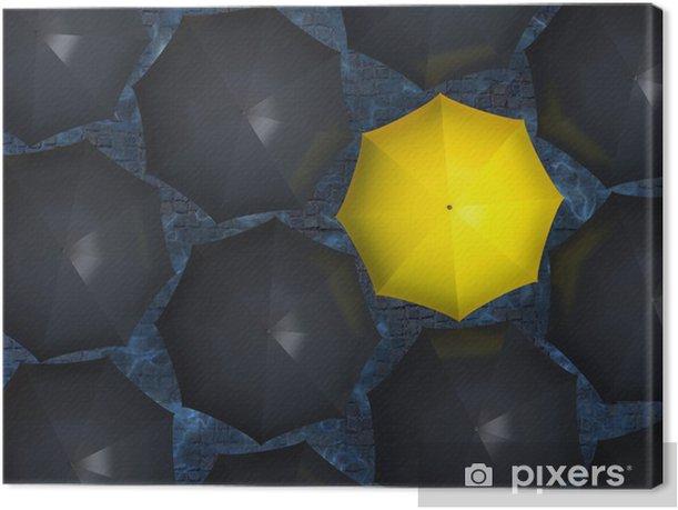 Cuadro en Lienzo Paraguas amarillo - Conceptos de negocios