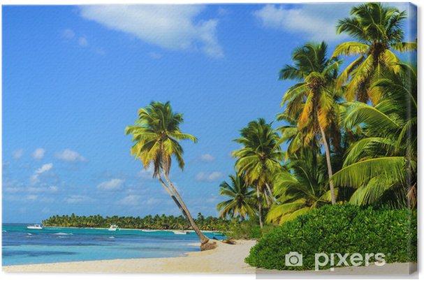 Cuadro en Lienzo Paraíso de playa con palmeras en la arena blanca - Palmeras