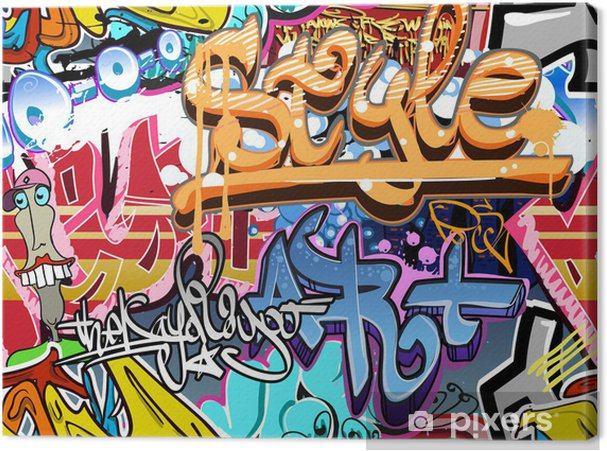 Cuadro en Lienzo Pared de la pintada. Urban background art. Textura transparente - Temas