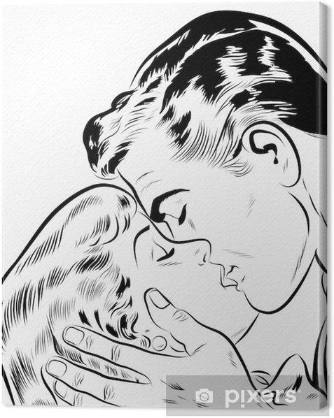 Cuadro en Lienzo Pareja amoureux qui s'embrasse -