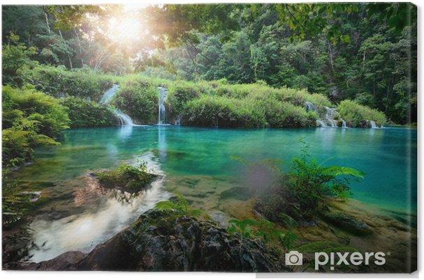 Cuadro en Lienzo Parque Nacional Cascadas en Guatemala Semuc Champey al atardecer. - Cascadas