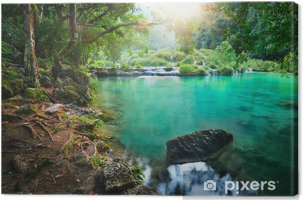 Cuadro en Lienzo Parque Nacional Cascadas en Guatemala Semuc Champey al atardecer. - Selva