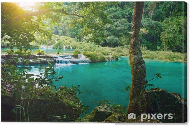 Cuadro en Lienzo Parque Nacional de las cascadas en Guatemala Semuc Champey - Cascadas