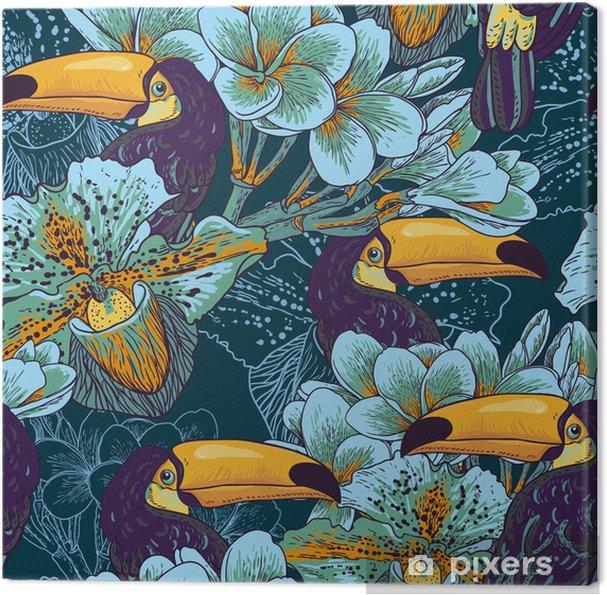 Cuadro en Lienzo Parrern transparente tropical con flores y Toucan - Para el salón