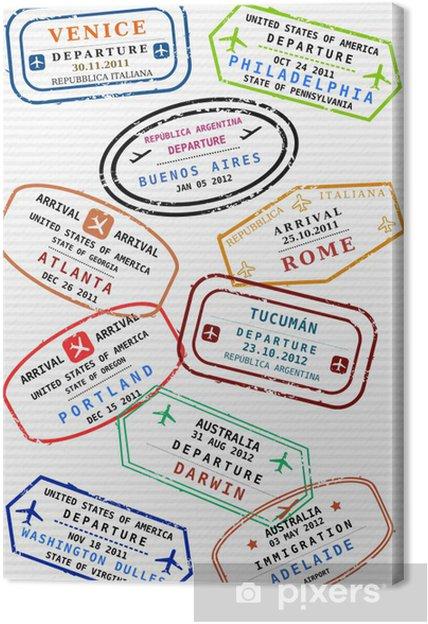 Cuadro En Lienzo Pasaporte Página De Timbres De Viajes Visados De Viaje