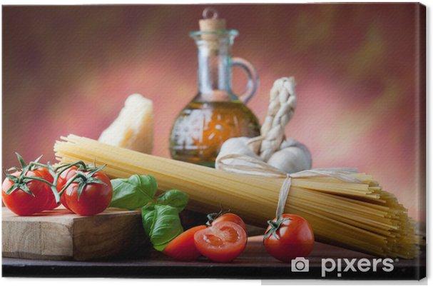 Cuadro en Lienzo Pasta italiana con ingredientes básicos - Temas