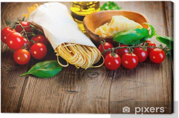 Cuadro en Lienzo Pasta. Italiano hecho en casa espagueti con queso parmesano y tomates - Temas