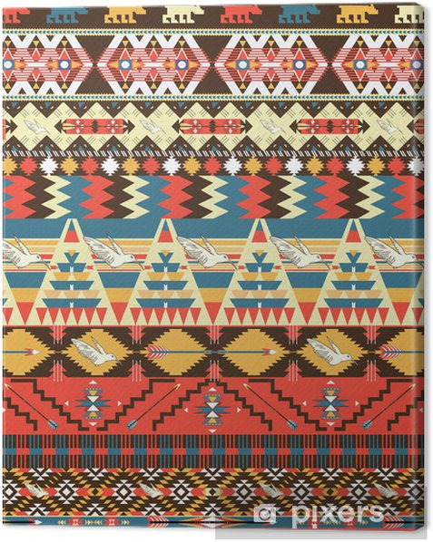 Cuadro en Lienzo Patrón azteca colorido inconsútil con los pájaros, las flores y la flecha - Estilos