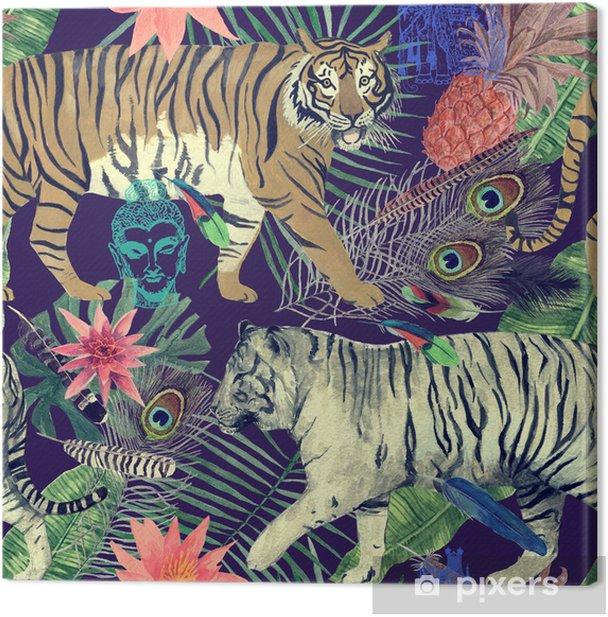 Cuadro en Lienzo Patrón de acuarela transparente con tigres, hojas, plumas ,. - Recursos gráficos