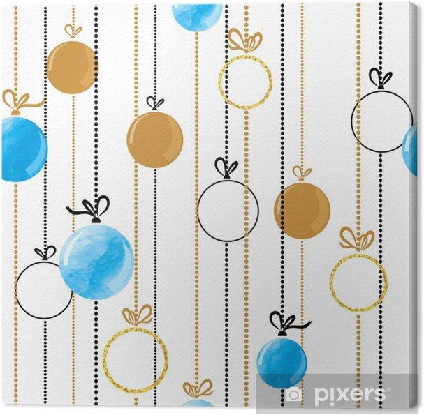 Cuadro en Lienzo Patrón de bolas de Navidad sin costuras en colores ...