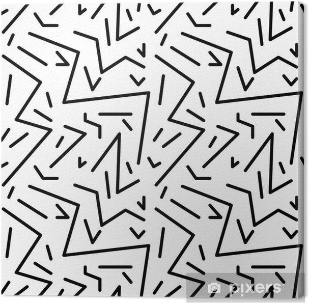 Cuadro en Lienzo Patrón de cosecha geométrico transparente en estilo retro años 80, de Memphis. Ideal para el diseño de la tela, papel de impresión y el sitio web telón de fondo. archivo vectorial EPS10 - Recursos gráficos