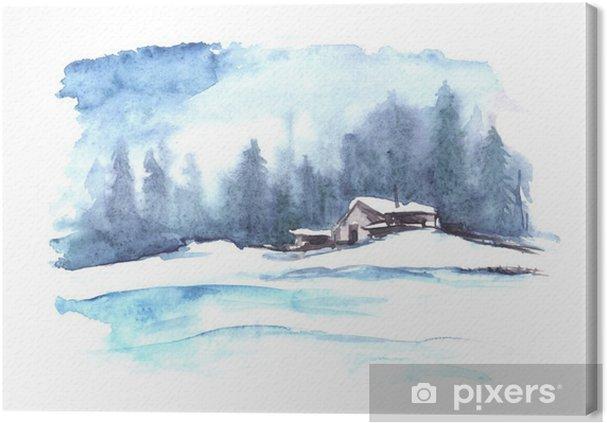 Cuadro en Lienzo Patrón de invierno de la acuarela. País paisaje. La imagen muestra una casa, abeto, pino, bosque, nieve y derivas. - Paisajes