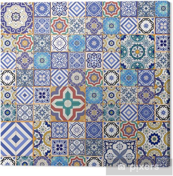 Cuadro en Lienzo Patrón de mosaico sin fisuras Mega. azulejos marroquíes, adornos. - Azulejos