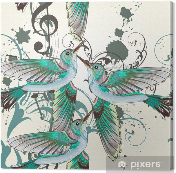 Cuadro en Lienzo Patrón de vectores sin fisuras con los colibríes en el estilo de la acuarela - Aves