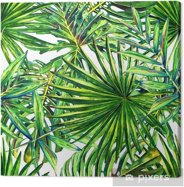 Cuadro en Lienzo Patrón floral sin fisuras con acuarela hojas de palmeras tropicales. follaje de la selva sobre fondo blanco. diseño textil. - Recursos gráficos