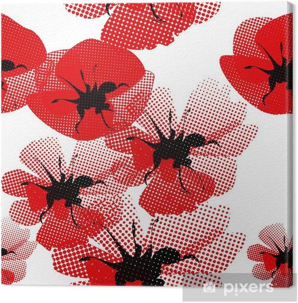 Cuadro en Lienzo Patrón floral sin fisuras con amapola - Temas