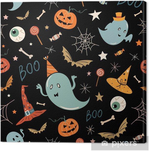 Cuadro en Lienzo Patrón sin costuras de halloween con elementos dibujados a mano, fantasmas y calabazas, diseño vectorial - Recursos gráficos
