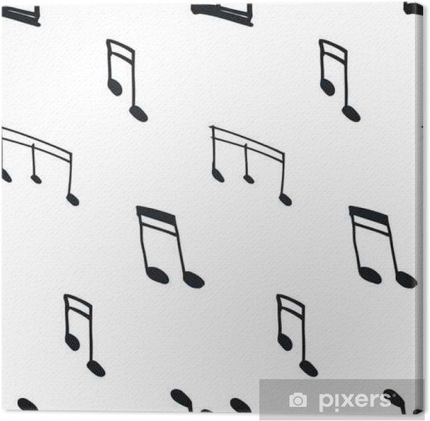 Cuadro en Lienzo Patrón sin fisuras con las notas musicales - Hobbies y entretenimiento