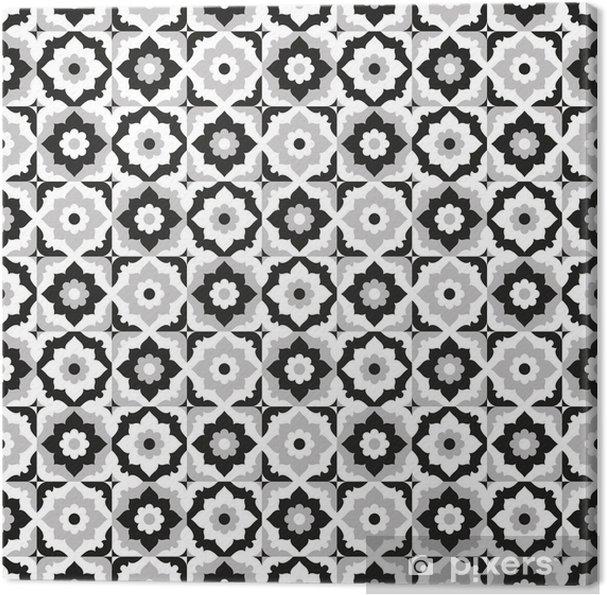 Cuadro en Lienzo Patrón sin fisuras negro y baldosas de cerámica blanca - Azulejos