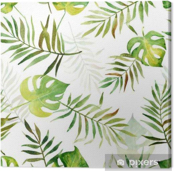 Cuadro en Lienzo Patrones sin fisuras con acuarelas hojas tropicales. - Plantas y flores