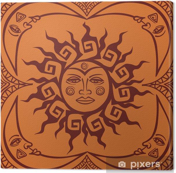 Cuadro En Lienzo Pattren Transparentes De Sol Tribal Y Luna