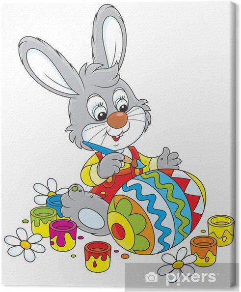 Cuadro en Lienzo Pequeño conejo colorear un huevo de Pascua • Pixers ...