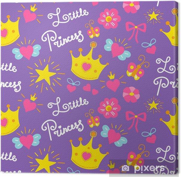 Cuadro en Lienzo Pequeño vector de patrón de princesa. Fondo lindo de la muchacha para la tarjeta de cumpleaños de la plantilla, invitación de la fiesta de bienvenida al bebé, papel pintado de las muchachas y tela. los niños imprimen con estrellas, flores, coronas, lazos y corazones. - Recursos gráficos