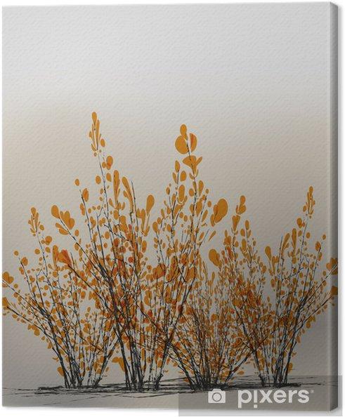 Cuadro En Lienzo Pequeños árboles De Color Amarillo Con Hojas Arbustos