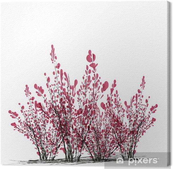 Cuadro En Lienzo Pequeños árboles De Hoja Rosa Arbustos