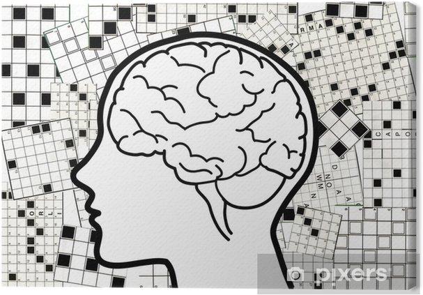 Cuadro en Lienzo Perfil con hemisferio cerebral y el fondo de ...