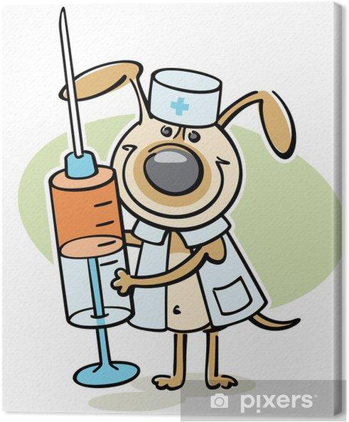 Cuadro En Lienzo Perro De Dibujos Animados Carácter Veterinario Con Jeringa