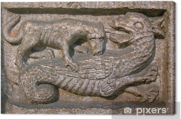 Cuadro en Lienzo Perro muerde a un dragón - Catedral de Trento Italia - Europa