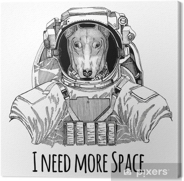 7fbbeeb1b03c3 Cuadro en Lienzo Perro para el diseño de la camiseta vistiendo traje  espacial animal salvaje astronauta astronauta galaxia exploración dibujado  a mano ...