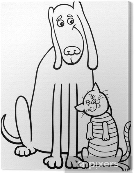 Cuadro en Lienzo Perro y gato de dibujos animados para colorear ...