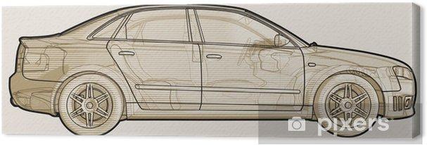 Cuadro en Lienzo Perspective sketchy ilustración de un Audi A4. - Temas
