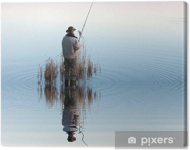 Cuadro en Lienzo Pescador en acción - Deportes de exterior